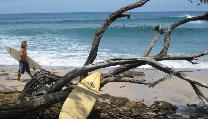 Surfing at Playa Avenellas, Costa Rica