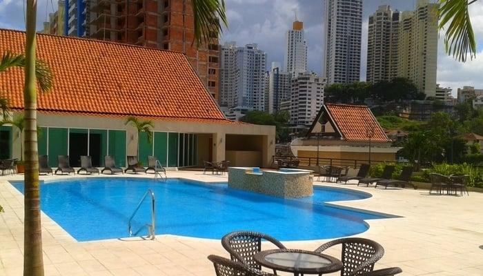 Poolside at the Central Park Hotel in El Dorado, Panama City
