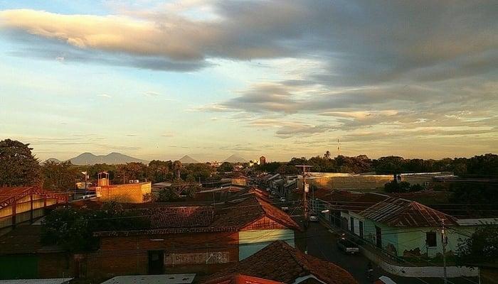 View across Leon, Nicaragua towards the volcanoes