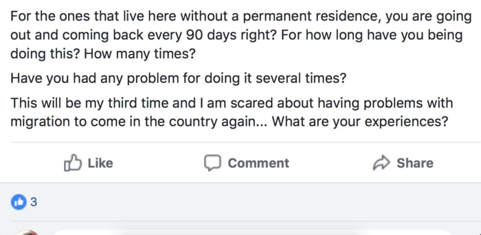A typical post in one of the expat Facebook groups about Costa Rica residency vs visa runs