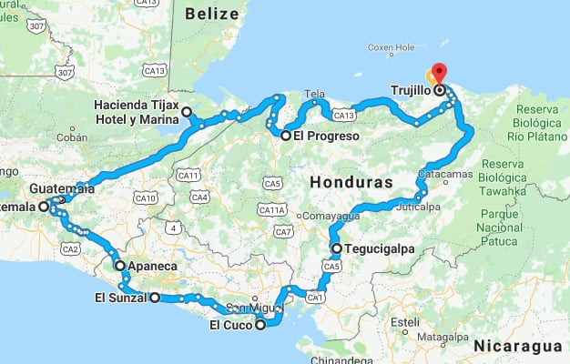 Driving around Central America: Route