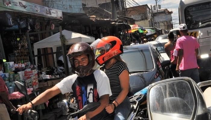 Driving around Central America: Tegucigalpa market traffic jam, Honduras