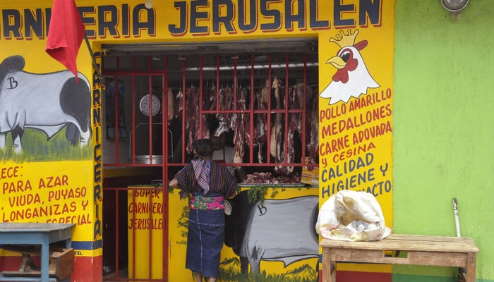 Meat in Guatemala: A butcher's shop in Santo Domingo Xenacoj, Sacatepéquez