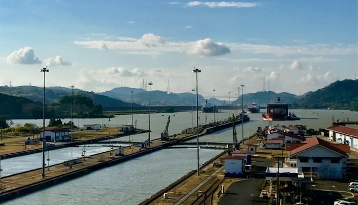 Miraflores Locks, Panama Canal: Looking north up the canal towards the Caribbean