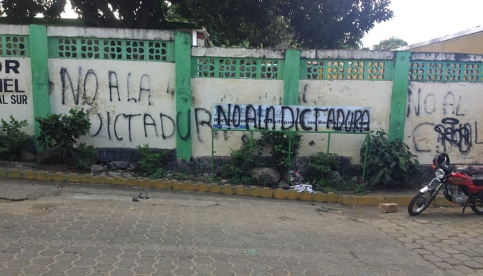 April 19 University Movement: Anti-Canal graffiti in Ometepe, Nicaragua