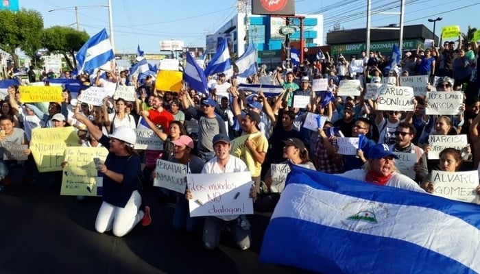 Nicaragua protests April 2018: People holding up the names of the dead