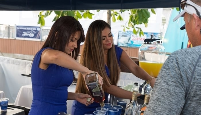 Flor de Caña stand at the 2018 World Offshore Championship, Marina Pez Vela, Quepos