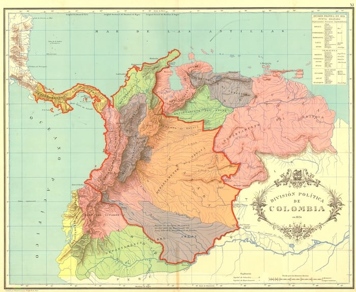 Is Panama part of Central America / Map showing the shrinking territory of Gran Colombia from 1824 to 1890 (red line)