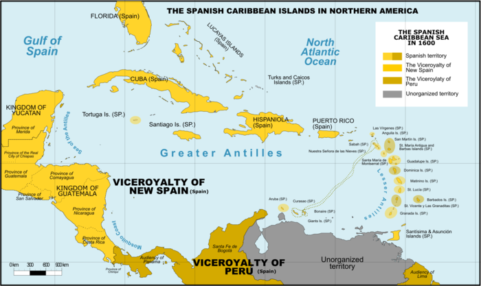 Is Panama part of Central America / The Spanish Caribbean in 1600 (Viceroyalty of New Spain next to Viceroyalty of Peru / Giggette (Wikipedia)