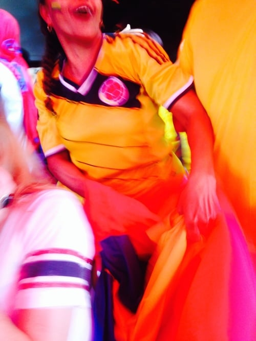 A Colombia fan in full fiesta mode in Tamarindo, Costa Rica during the Brazil 2014 World Cup
