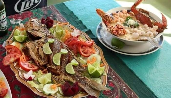 Fried fish dish at Mar y Sol, Costa del Sol, El Salvador