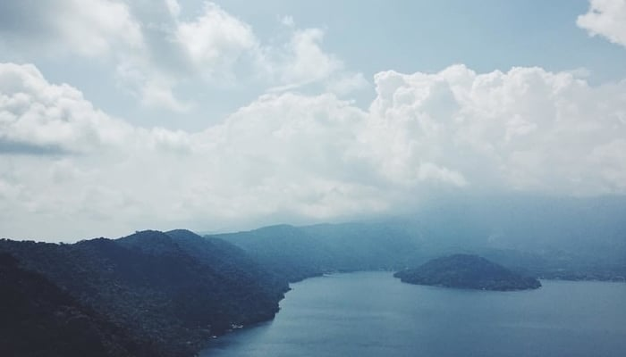 Lakes of El Salvador: Lake Coatepeque in the fog
